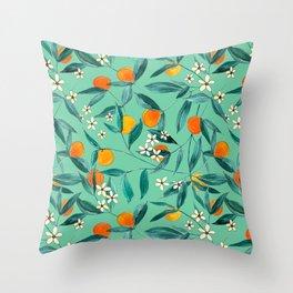 Orange Summer in Green Throw Pillow