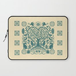 Rustic Early American Tree Of Life Woodcut Laptop Sleeve