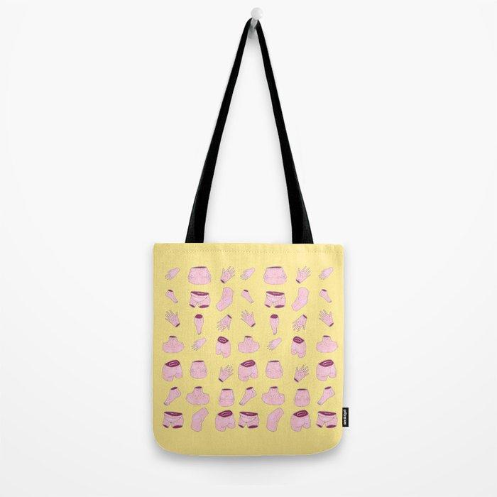body parts yellow Tote Bag