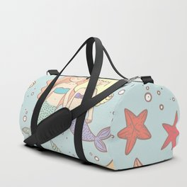 Bff Mermaids Seamless Pattern Duffle Bag