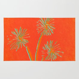 Red Orange Dandelion Rug