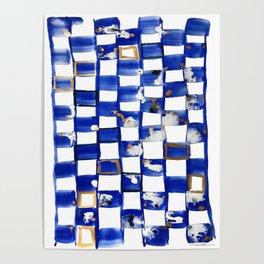 Blue and White Checks Poster