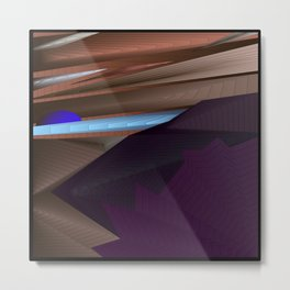 Strange psychedelic landscap with stylised mountains, sea and blue Sun. Metal Print