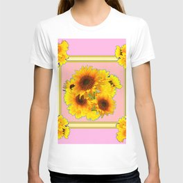 YELLOW SUNFLOWER BOUQUETS ON PINK T-shirt