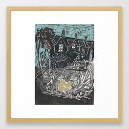 Bedford Gottages Lino Cut Framed Art Print