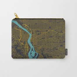 Portland, OR City Map, Yellow/Navy Carry-All Pouch