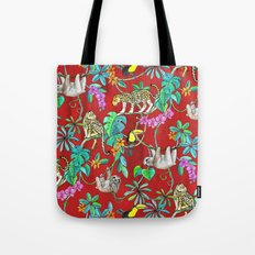 Rainforest Friends - watercolor animals on textured red Tote Bag