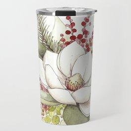 Christmas Magnolia Watercolor Travel Mug
