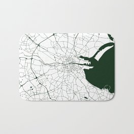 White on Dark Green Dublin Street Map Bath Mat