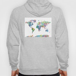 world map mandala watercolor white Hoody