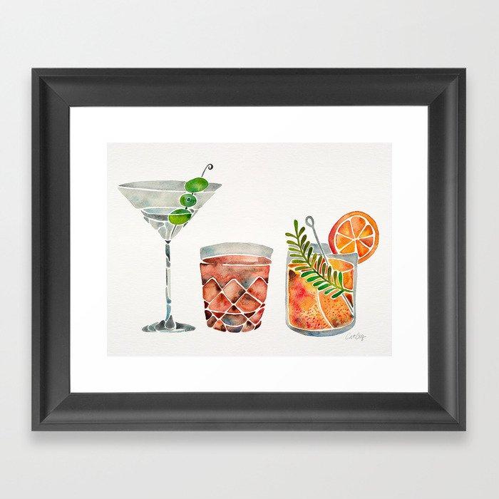 Classic Cocktails  – 1960s Watercolor Lineup Gerahmter Kunstdruck