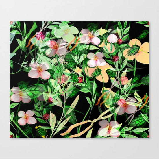 Garden Frenzy Night Canvas Print