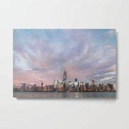 Beautiful view of Manhattan buildings near river Metal Print
