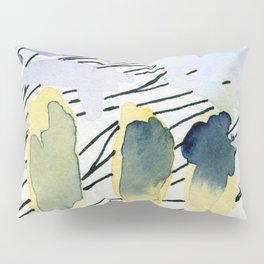Purple match -watercolor wash and ink stripes Pillow Sham