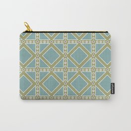 Teal and Moss Green Pattern Carry-All Pouch