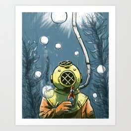 Beer Diver Art Print