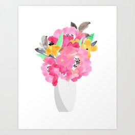 Modern Pink Watercolor Flowers Art Print