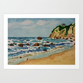 Block Island Beach Scene Art Print