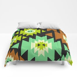 Ethnic shapes in green and brown Comforters