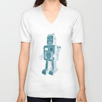 robot V-neck T-shirts featuring ROBOT by Charlotte Dandy