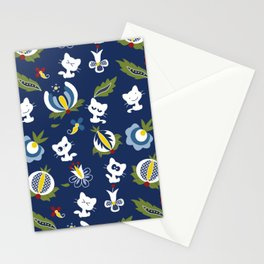 Cat with Ethnic Folk Flower Stationery Cards