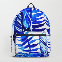 Jungle Leaves & Ferns in Blue Backpack