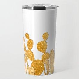 Golden cactus garden on white Travel Mug