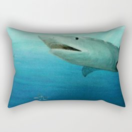 Shark Swimming by Fish in the Ocean Rectangular Pillow