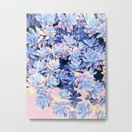 Cactus Fall - Blue and Pink Metal Print