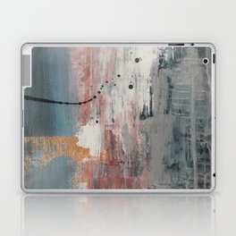 S'il Vous Plait: an abstract mixed-media piece in blue, gray, and gold by Alyssa Hamilton Art Laptop & iPad Skin