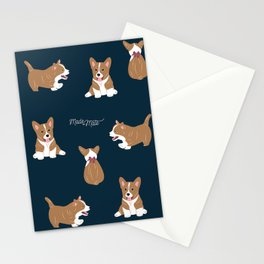 Navy Corgi Stationery Cards