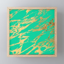 Gold Bright Teal Marble Stone Modern Pattern Framed Mini Art Print