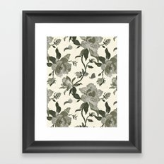 Black Magnolia Pattern Framed Art Print