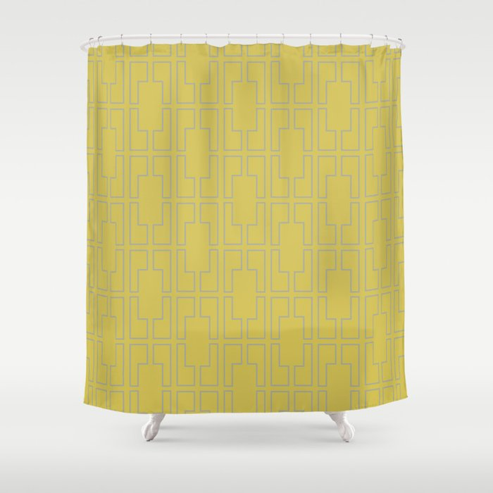 Simply Mid Century Retro Gray On Mod Yellow Shower Curtain