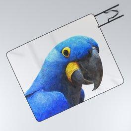Blue Parrot Portrait Picnic Blanket