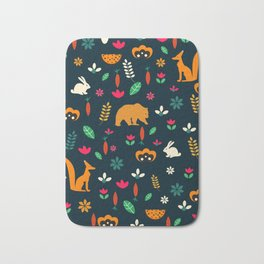 Cute little animals among flowers Bath Mat