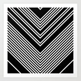 Back and White Lines Minimal Pattern no.2 Art Print
