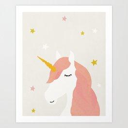 Unicorn, Mid century modern kids wall art, Nursery room Art Print