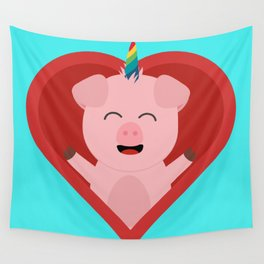 Unicorn Pig in Heart Wall Tapestry