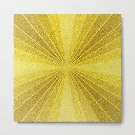Geometric gold glitter mosaic, diagonal sun rays, gold abstract sparkles Metal Print