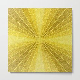 Gold geometry abstract glitter, sun rays geometric shapes Metal Print