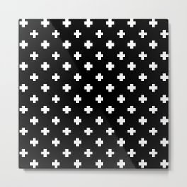 White Swiss Cross Pattern on black background Metal Print