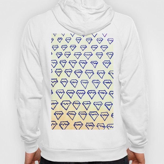 Blue Diamond Pattern Print Hoody