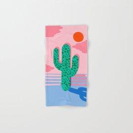 No Foolin - retro throwback neon art design minimal abstract cactus desert palm springs southwest  Hand & Bath Towel