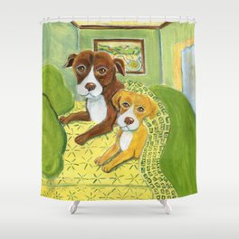 Pitbulls on patterned sheets Shower Curtain