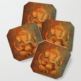 Lord Ganesh On a Distress Stone Background Coaster