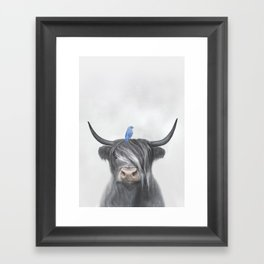 Scottish Cow & Blue Bird Framed Art Print