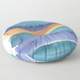 Abstract Watercolor Painting in Turquoise, Blue und Ocker With Copper Splashes Floor Pillow