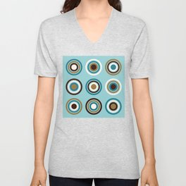Circles in Rings Teals Gold Brown Cream Unisex V-Neck