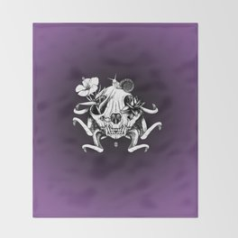 The Skull the Flowers and the Snail Throw Blanket